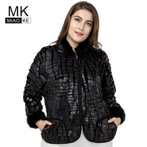 bd09ad3e745bb Miaoke plus size bomber jacket women clothing Long-sleeved Zipper Imitation  fur leather jacket big size coat 4xl 5xl 6xl