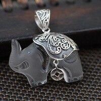 De Crystal Witte Olifant Hanger S925 zilver ingelegd zilver antieke craft vrouwelijke prachtige gift groothandel
