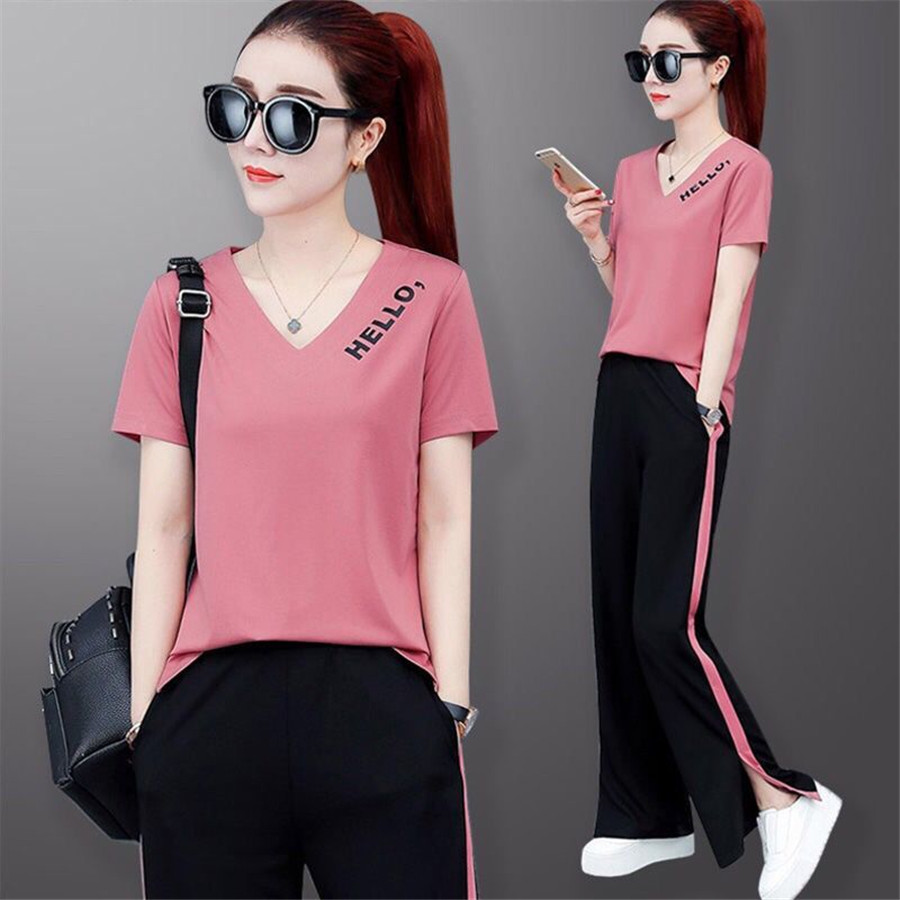 2019New Brand Women Tracksuit Women Suit Tracksuit Striped Tops And Wide Leg Pants Two Piece Set