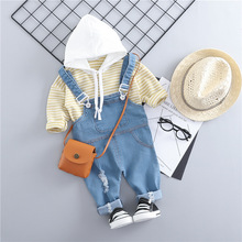 Children Clothing Baby Girls 2pcs Sets Pullover Striped T-shirt Tops+Strap Jeans Pants Suit For Baby Girls Clothes Costume Sets girls clothing sets for girls summer sleeveless striped tops