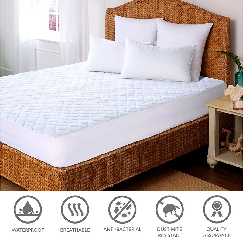 Mattress Protector Hypoallergenic Embossed Overfilled Vinyl Free Plush Breathable Dust Mite Resistant 10