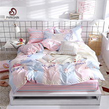 ParkShin Pink Cartoon Style Bedding Set 3/4PCS Fitted Sheet Bed Linings Rubber Elastic Duvet Cover Pillowcases