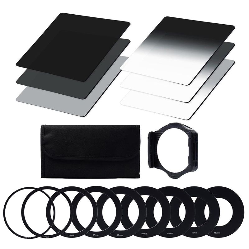 ND Filter Set ND2 ND4 ND8 G.ND2 G.ND4 G.ND8 Ring Adapter 49mm 52mm 55mm 58mm 62mm 67mm 72mm 77mm 82mm Holder Case