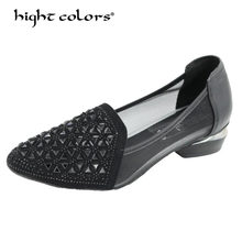 hight colors Brand Summer 2019 Ethnic Style Genuine Leather Handmade Shoes Women Round Toe Pumps Hollow High Heels SH-532(China)