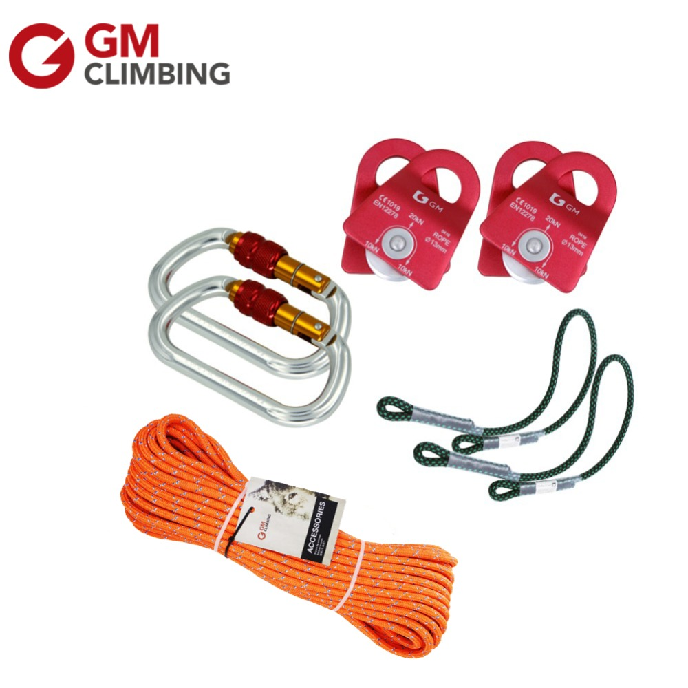 Gm Climbing Equipment Kn Rescue Pulley Kn Carabiner With Double Braid Climbing Rope For Arborist Z on Z Rig Pulley System