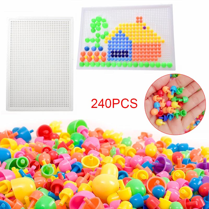 240 Pcs/Set Box-packed Grain Mushroom Nail Beads Intelligent 3D Puzzle Games Jigsaw Board For Children Kids Educational Toys