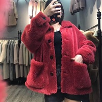2018 new warm thick female natural sheep fur jacket pockets thick winter wool fashion girls coats European Russia ladies coats