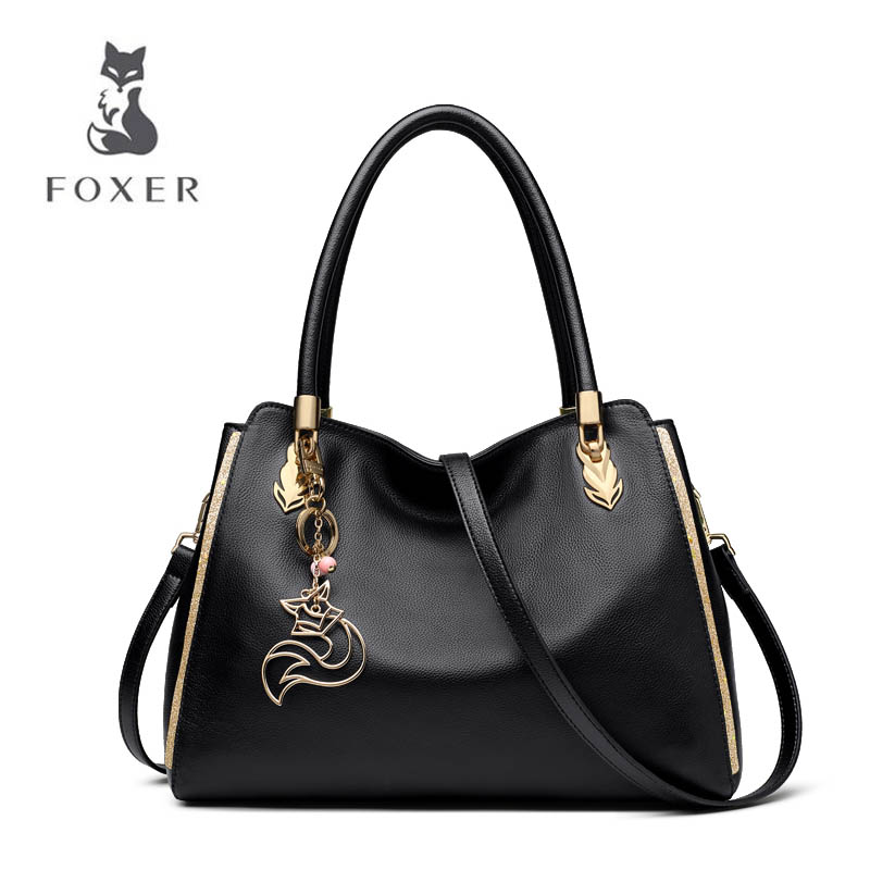 FOXER 2018 New women leather bag fashion big bag luxury women handbag tote shoulder bag Handbags & Crossbody bags high quality chrome tail light cover for skoda octavia mk2 04 08 free shipping