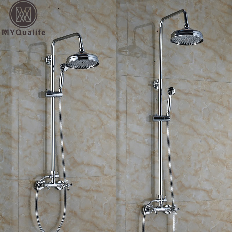 Chrome Brass Bathroom Shower Set Faucet Column Double Cross Handles In Wall Shower Mixers with Brass Handshower