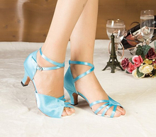 Wholesale Ladies Girls Sky Blue Satin  Ballroom Latin Samba Salsa Ceroc Tango Dance Shoes All Size