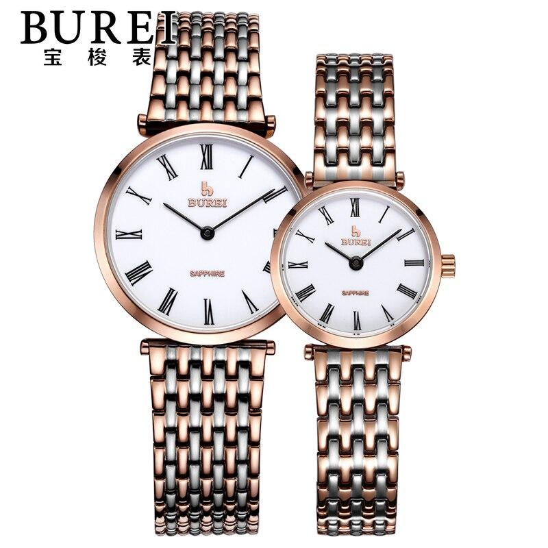 89d3ddc64654d ᗖBurei amantes lente de safira marca de luxo casal relógios de ...