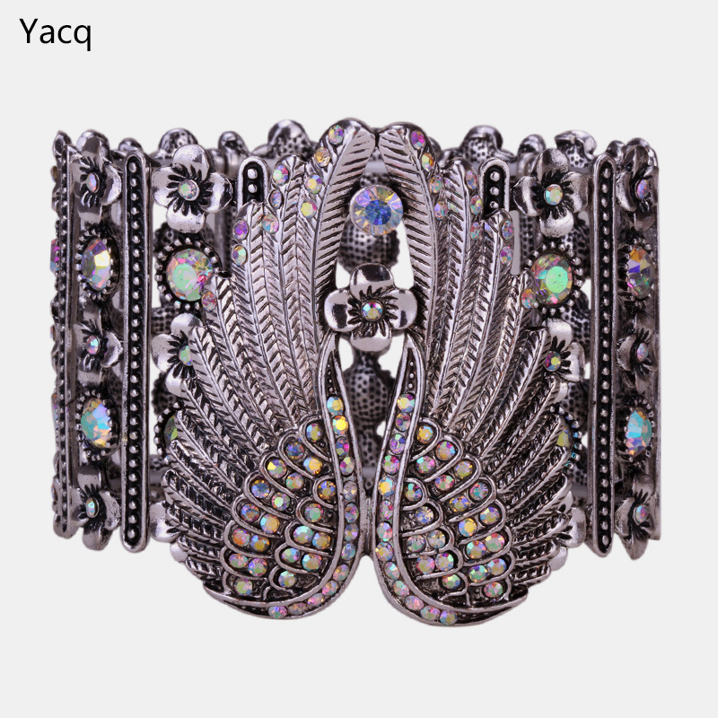 YACQ Angel Wings Stretch Cuff Bracelet for Women Biker Crystal Punk Jewelry Gift Antique Silver Color