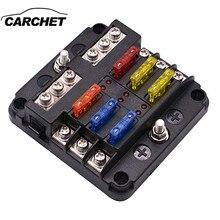 CARCHET 6 Way Insert Fuse Box Block Holder Circuit For Car Automotive Auto ATC A
