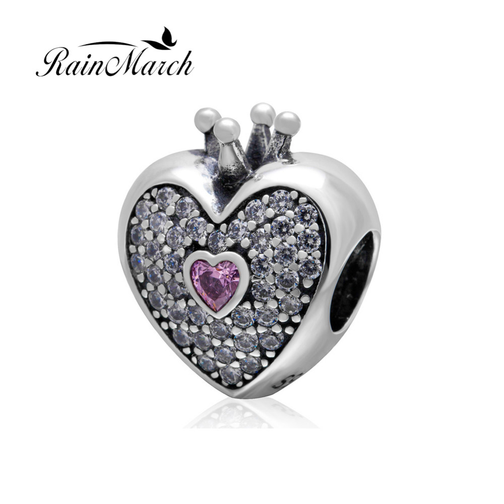 Authentic 925 sterling silver Crown Heart Charms Beads with Cubic Zirconia Original DIY Jewelry Fit Pandora Charm bracelets