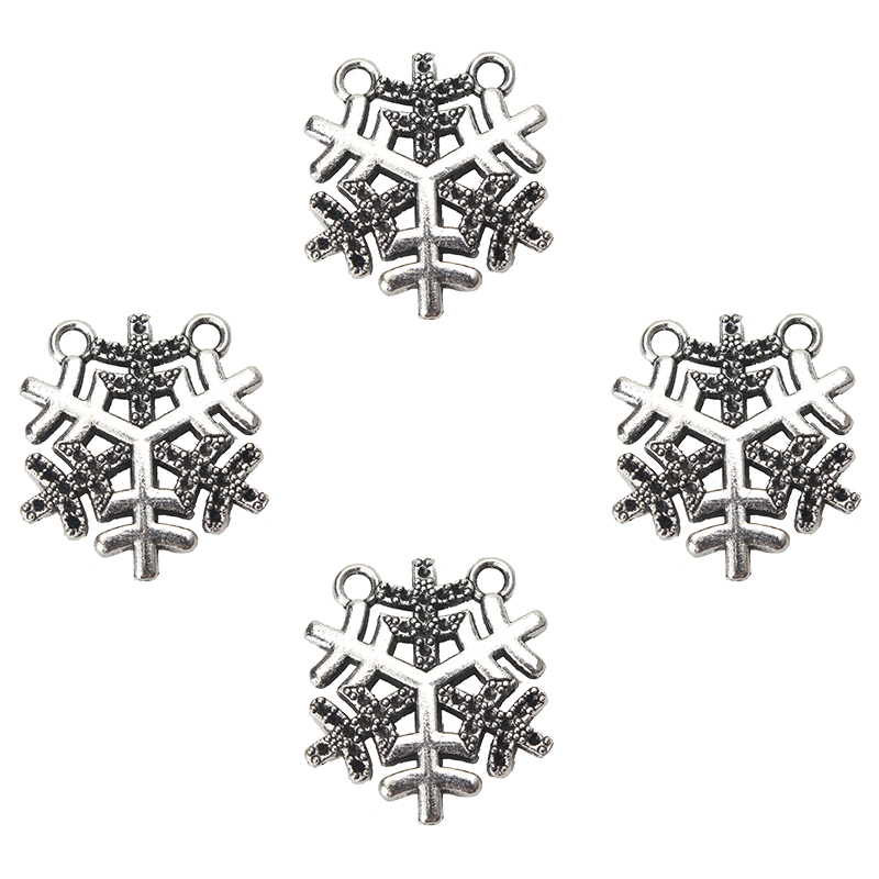 10pcs/lot 21*19mm fashion antique silver tone snow charms