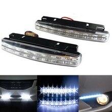 цена на 2Pcs Fog Light Running Lights DRL car auto Super Bright Waterproof DC 12V Waterproof 8 LEDs Car Daytime Car-styling Daytime Lamp
