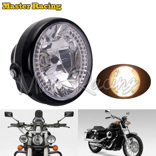 "7"" 12v Motorcycle Headlight Turn signal Light H4 35W High/Low Beam Headlamp for Honda Harley Yamaha Cruiser Chopper Custom Bikes"