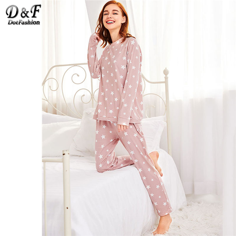 Dotfashion Stars Print Pullover and Pants Pajama Set 2018 Pink Long Sleeve Round Neck Women Clothing Pocket Casual Pajama Set все цены