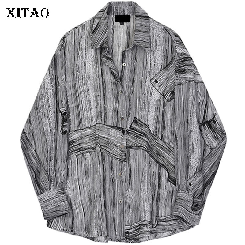 Female Loose Dll1817 Sleeve 2019 Turn See xitao Striped Spring Shirt Print Women Europe Full Summer Collar Fashion Blouse down Picture Pv1T1OqW