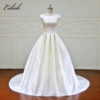 Simple Fashion Backless A Line Satin Pearls Vintage Wedding Dress Court Tail Draped Court Tail Bridal