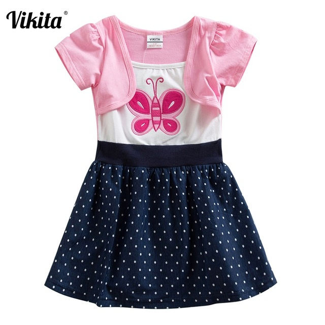 bc6e781212d1 VIKITA Brand New Girl Dresses 100% Cotton Girls Butterfly Cartoon ...