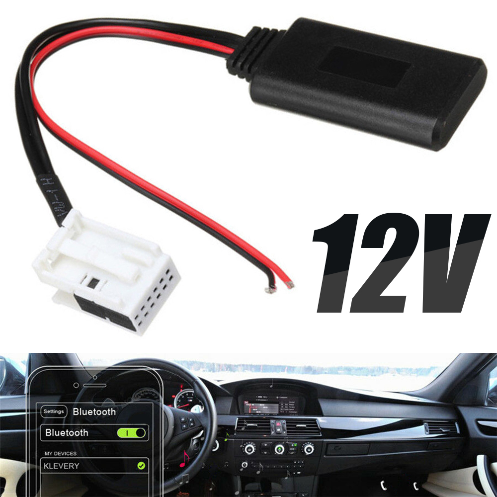 For <font><b>BMW</b></font> E60 04-10 E63 E64 E61 1pc 12Pin 12V <font><b>bluetooth</b></font> Audio Adapter Aux Cable Mini Radio Stereo Aux Adapter Mayitr image