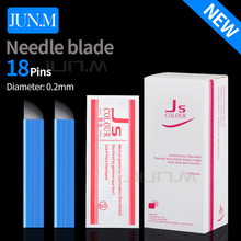 50Pcs 0.2Mm 18Pins Blue Microblading Manual Needle Blade Permanent Makeup Eyebrow Tattoo Supply