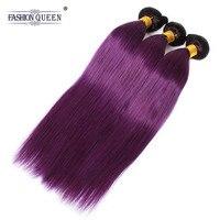Fashion Queen Hair Brazilian Straight 3 Bundles Human Hair Extensions Ombre Hair Bundles #1b/Purple Color Hair Bundles