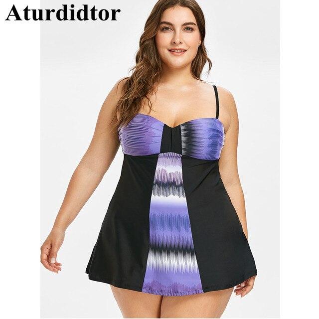 US $16.99 40% OFF|Plus Size Tankini Set Two Piece Color Block Black Purple  Beach Dress Large Size Bathing Suit Bodysuit Swimwear Women Swim Wear-in ...