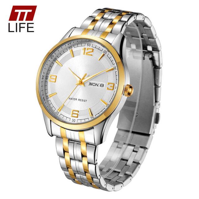 TTLIFE Amantes de Relógios Das Mulheres Dos Homens Casal de Aço Inoxidável Data Dia Relógio de Senhoras De Ouro Par Negócios Quartz Relógio de Pulso À Prova D' Água