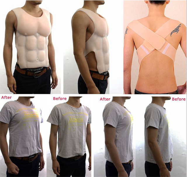 No Oil Silicone Male Fake Chest Belly Muscle Enhancer Cosplayers Shapewear Suit
