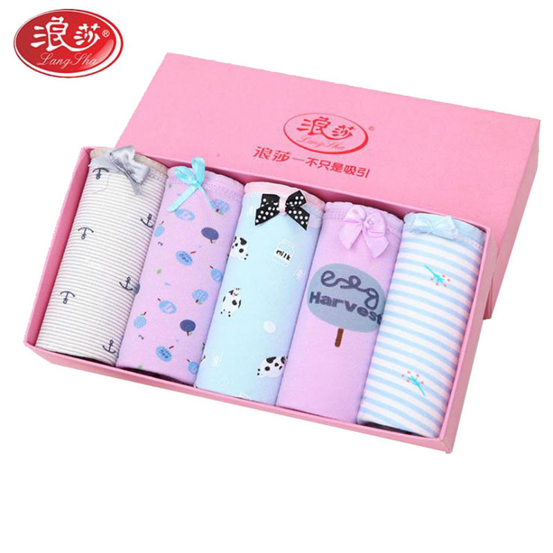5pcs/lot women cotton   panties   colorful cute cartoon lady underwears soft girl briefs Langsha