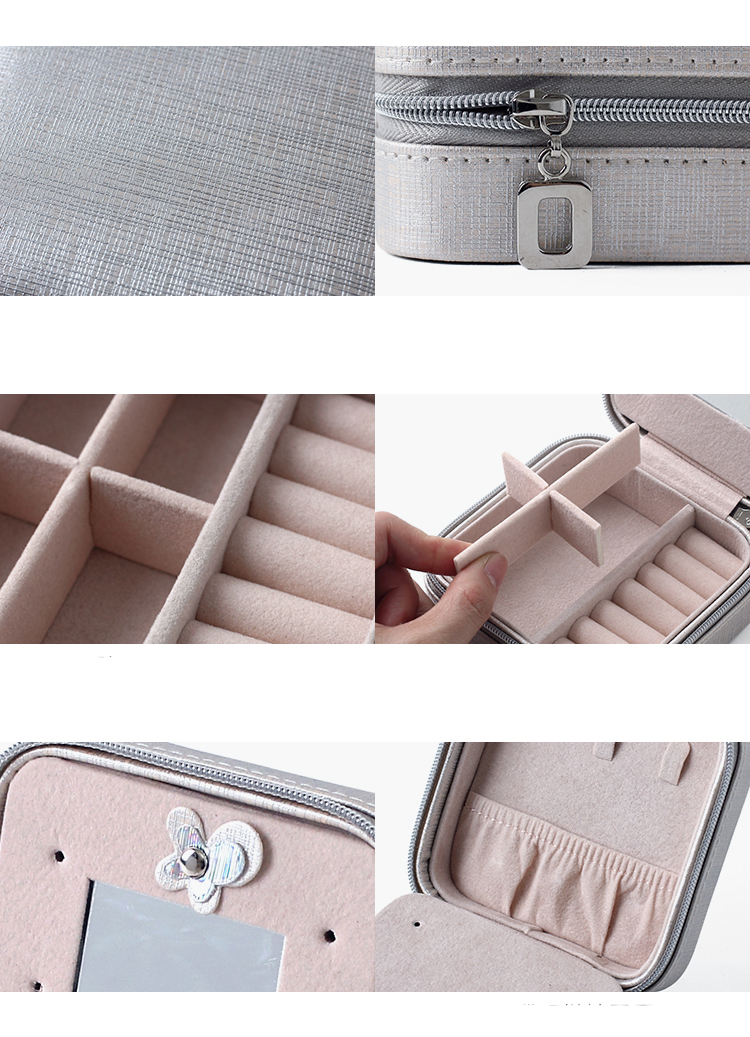 Women's Travel Organizer Jewelry Case with Mirror and Ring Holders