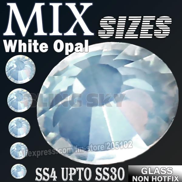 Tamaños de mezcla SS3-SS30 Blanco Opal Rhinestones uñas accesorios - Artes, artesanía y costura