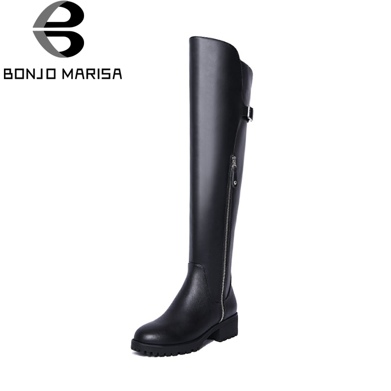 BONJOMARISA 2018 Fashion Spring And Autumn Cow Leather Platform Knee High Boots Zipper Med Square Heel Women Shoes Size 34-39 кастрюля с крышкой metrot кухня page 2
