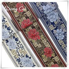 hot deal buy 5/15/30yards chinese style blue and white porcelain jacquard embroidered national ribbon curtain pillow diy sewing home textile