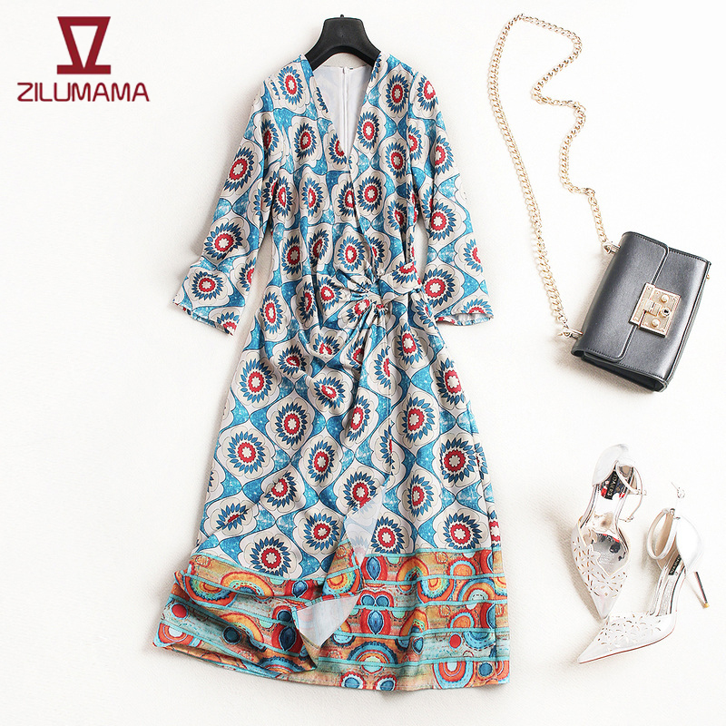 Brand-New Fashion ladies womens Spring Casual Blue printed silk dress Loose Hedging V-neck Retro favourite floral dress C595
