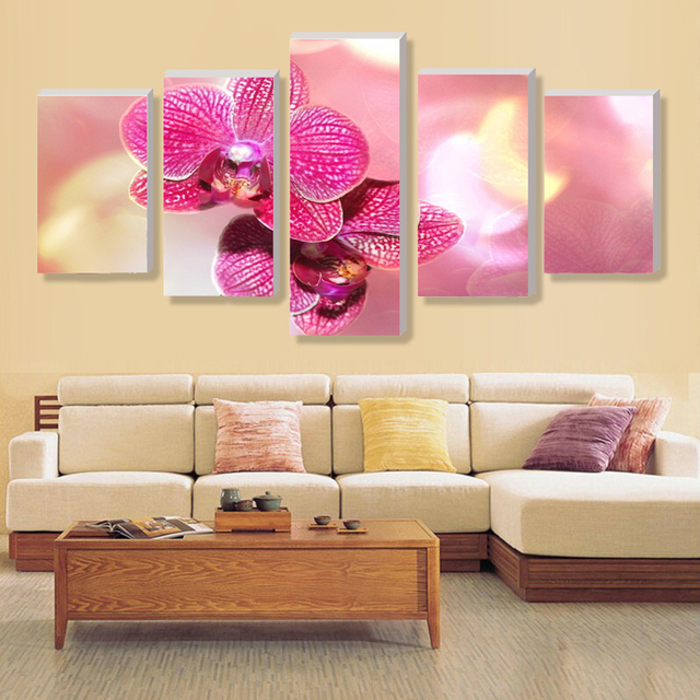 No Border) 5. Butterfly orchid pink canvas home decor print on ...