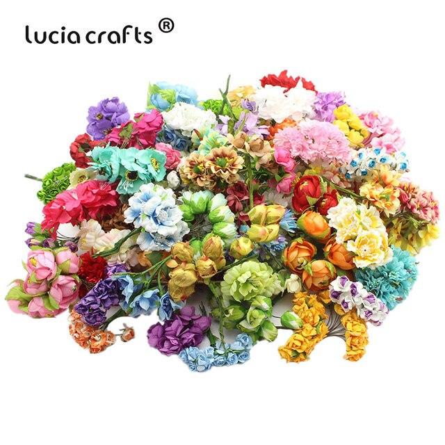 Lucia-Bouquet de fleurs artificielles 10 lots | Environ 50 têtes, décoration de mariage, Mini roses pour dector A0310