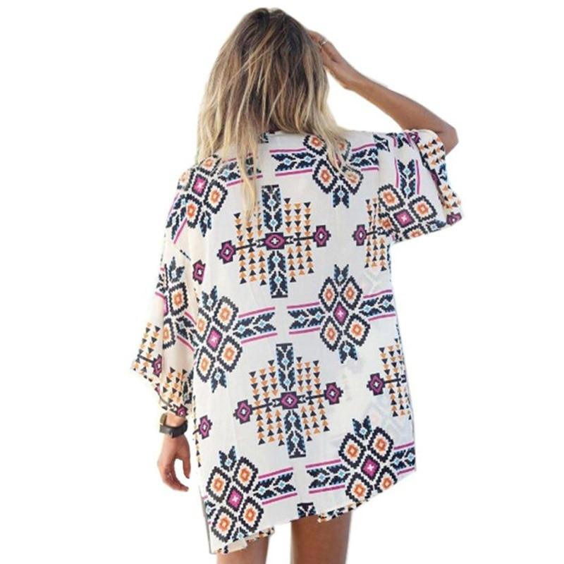 2017 Summer Shirt Style Tops Women Beach Blouses Printed Shirts Femininas Blusas Vintage Cover Up Plus Size