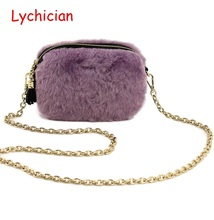 Fall winter hotsale clutch real sheep fur hair genuine leather women shoulder bag Luxury brand warm