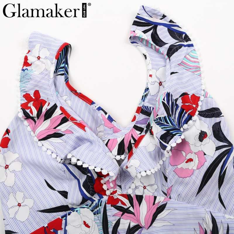 9bb154a2333b ... Glamaker Elegant ruffle flower print jumpsuit romper overalls Sexy V  neck lace up backless jumpuit Women