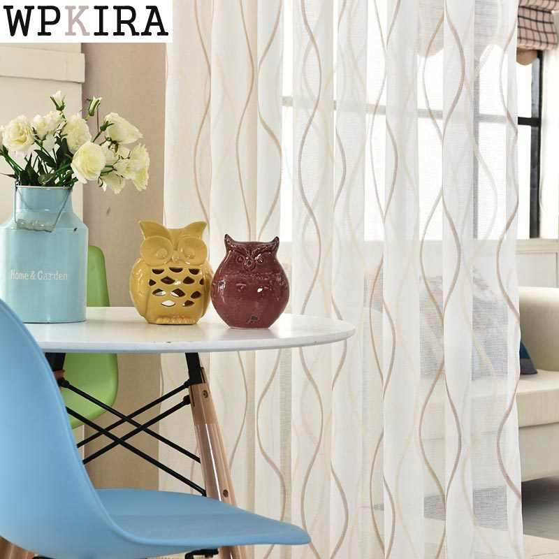 Stripe Yarn Curtain Window Tulle Curtains For Living Room Kitchen Modern Window Treatments Voile Curtain 377&40