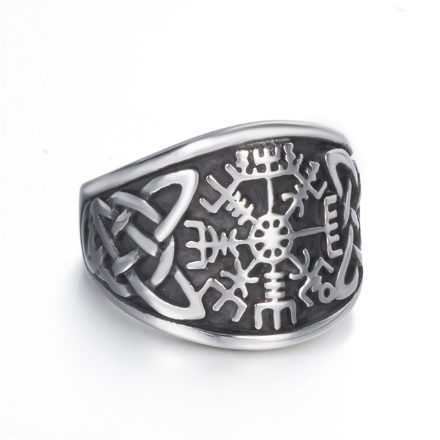 Men Stainless Steel Ring Viking Valknut Pirate Compass Text Symbol Vintage Jewelry Size 8 9 10 11 12 13 14 15