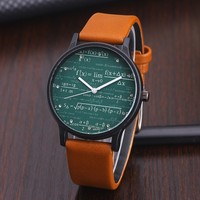 New Fashion Watches Women Quartz Watche Function Equation Pattern Casual Leather Dress Wristwatch Students Watches Clock