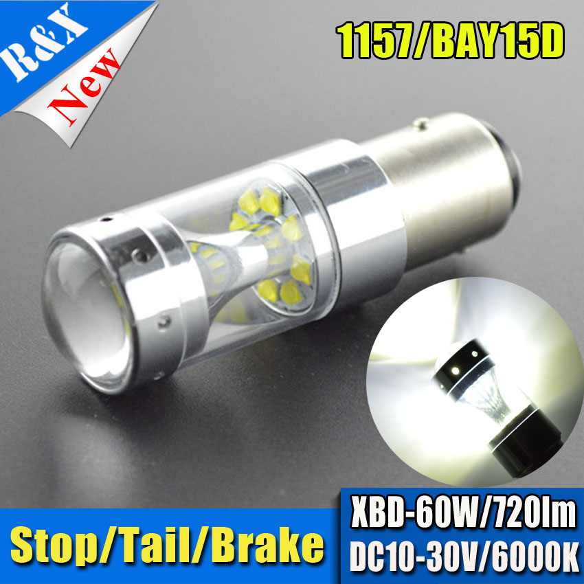 2pcs S25 1157 P21/5W High Power 12SMD XBD Yellow/Red/White Car LED DRL Reverse Light Projector Len 12V 24V Non Polarity