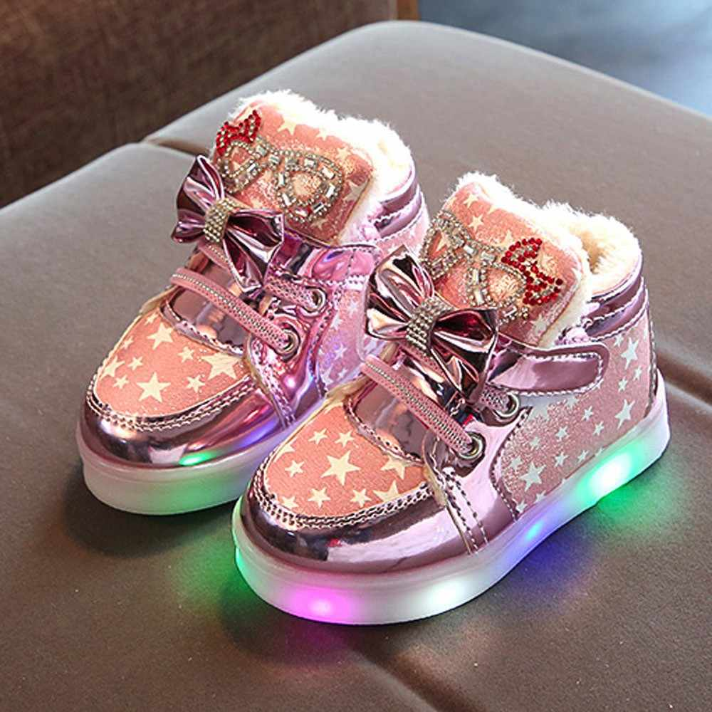 New Baby Children LED Shoes With Fur Winter Kids Led Flash Sneakers Fashion Cartoon Sneakers Girls Princess Lightning Shoes