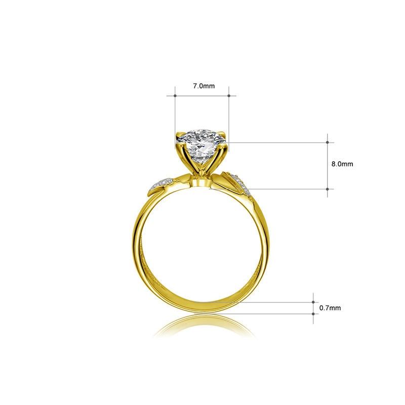 AINUOSHI 10k Solid Yellow Gold Ring 1.25 ct Round Cut SONA Diamond Woman Wedding Engagement bijoux Generous Stripes Bridal Bands