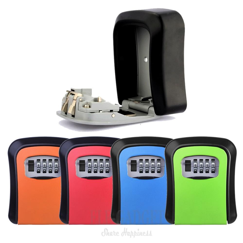Heavy Duty Metal Key Safe Box Hidden Organizer 4-Digital Password Lock House Villa Caravan Spare Keys Storage Safe Box