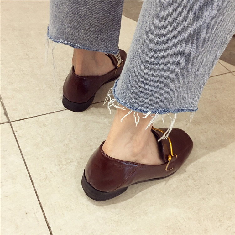 Fashion shoes for women 2018 new soft bottom British shoes woman square head single shoes female thick with flat shoes loafers 74